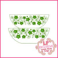 Colorwork Vintage Kitchen Bowls 1 Embroidery Design 4x4 5x7 6x10