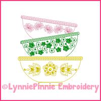Colorwork Vintage Kitchen Bowls 2 Embroidery Design 4x4 5x7 6x10