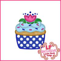 Princess Cupcake 11 Applique Design 4x4 5x7 6x10