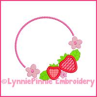 Sweet Strawberry Frame Applique Design 4x4 5x7 6x10 7x11