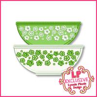 Vintage Kitchen Bowls 1 Applique Design 4x4 5x7 6x10