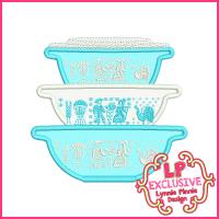 Vintage Kitchen Bowls 3 Applique Design 4x4 5x7 6x10