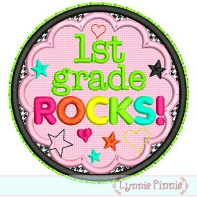 1st Grade Rocks Applique Circle Scallop 4x4 5x7 6x10