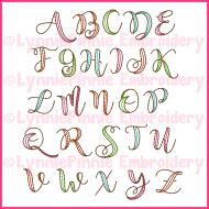 2 Color Ribbon Triple Run Embroidery Font -- 4 sizes + BX