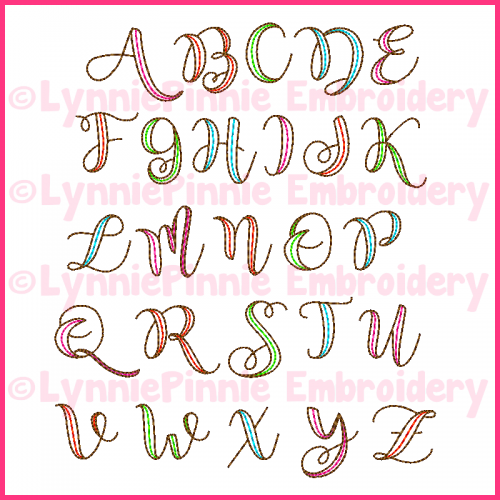 2 Color Ribbon Triple Run Embroidery Font -- 4 sizes + BX