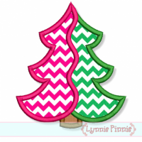 Two Color Christmas Tree Applique 4x4 5x7 6x10 7x11