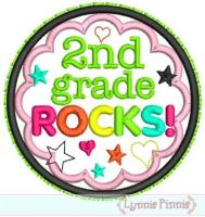 2nd Grade Rocks Applique Circle Scallop 4x4 5x7 6x10