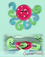 3D Swirly Octopus Applique 4x4 5x7 6x10