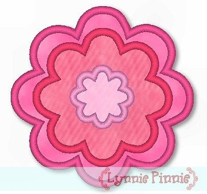 Triple Flower Applique 4x4 & 5x7 6x10