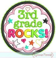 3rd Grade Rocks Applique Circle Scallop 4x4 5x7 6x10