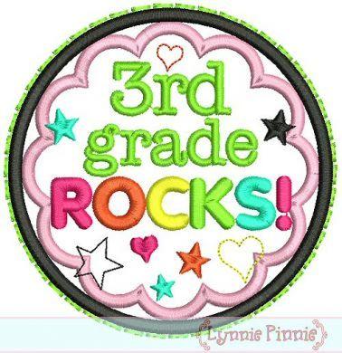 3rd Grade Rocks Applique Circle Scallop 4x4 5x7 6x10