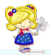 Sparkler Cutie Girl Applique 4x4 5x7 6x10 SVG