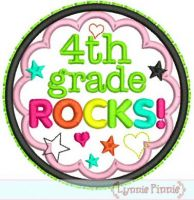 4th Grade Rocks Applique Circle Scallop 4x4 5x7 6x10