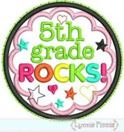 5th Grade Rocks Applique Circle Scallop 4x4 5x7 6x10