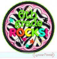 6th Grade Rocks Applique Circle Scallop 4x4 5x7 6x10