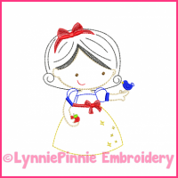 Apple Princess Cutie Colorwork Sketch Embroidery Design 4x4 5x7
