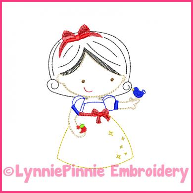Apple Princess Cutie Colorwork Sketch Embroidery Design 4x4 5x7