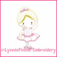 Ballerina Princess Cutie Colorwork Sketch Embroidery Design 4x4 5x7 6x10