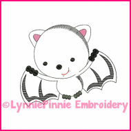 Bat Cutie Colorwork Sketch Embroidery Design 4x4 5x7 6x10