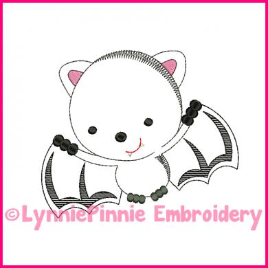 Bat Cutie Colorwork Sketch Embroidery Design 4x4 5x7 6x10