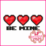 Pixel Hearts BE MINE Applique 5x7 6x10