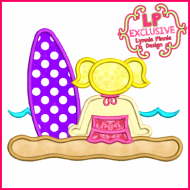 Beach Surf Girl 1 Applique 4x4 5x7 6x10 SVG