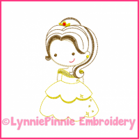 Beautiful Princess Cutie Colorwork Sketch Embroidery Design 4x4 5x7