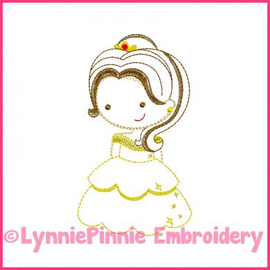 Beautiful Princess Cutie Colorwork Sketch Embroidery Design 4x4 5x7