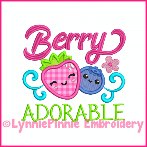 Berry Adorable Strawberry Blueberry Applique Design 4x4 5x7 6x10 7x11