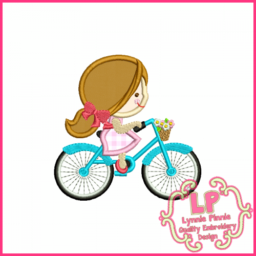 Spring Bicycle Cutie Girl Applique Design 4x4 5x7 6x10 7x11