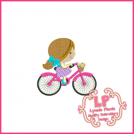 Spring Bicycle Cutie Girl Filled Embroidery Design 3x3 4x4