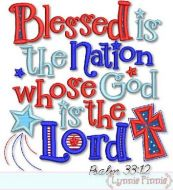 Blessed Nation Psalm 33:12 Applique 4x4 5x7 6x10 7x11 SVG