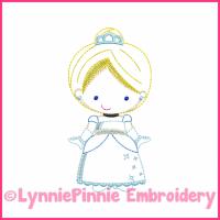 Blue Princess Cutie Colorwork Sketch Embroidery Design 4x4 5x7