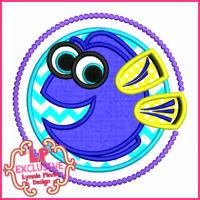 Blue Tang Fish Circle Applique 4x4 5x7 6x10 7x11