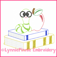 Book Worm Colorwork Sketch Embroidery Design 4x4 5x7 6x10