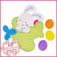Easter Bunny in Plane Applique 4x4 5x7 6x10