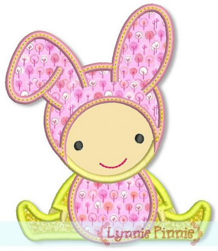 Bunny Baby Applique 4x4 5x7