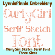 CurlyGirl Serif Sketch Triple Run Font Uppercase & Lowercase DIGITAL Embroidery Machine File -- 3 sizes + BX