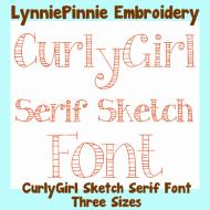 CurlyGirl Serif Sketch Triple Run Font Uppercase & Lowercase DIGITAL Embroidery Machine File -- 3 sizes + BX