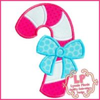 Candy Cane with Bow Applique 4x4 5x7 6x10 SVG