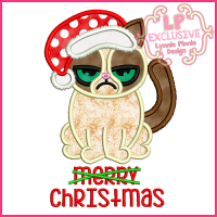 Merry Christmas Cat Applique Design 4x4 5x7 6x10
