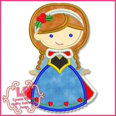 Christmas Princess 7 Applique 4x4 5x7 6x10 SVG