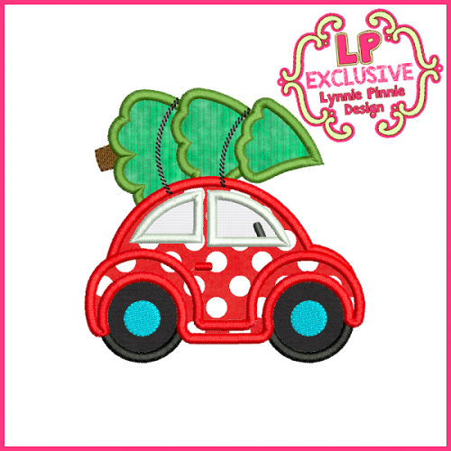 Christmas Tree Buggy Car Applique Design 4x4 5x7 6x10 7x11
