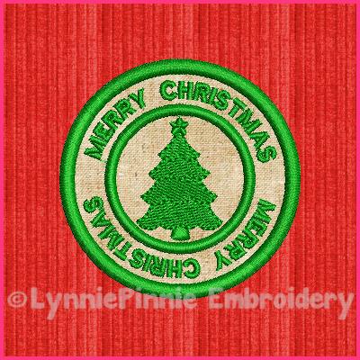 FREE Christmas Tree Circle Icon Applique Embroidery Design 4x4