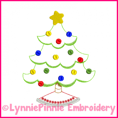 Christmas Tree Colorwork Sketch Embroidery Design 4x4 5x7 6x10
