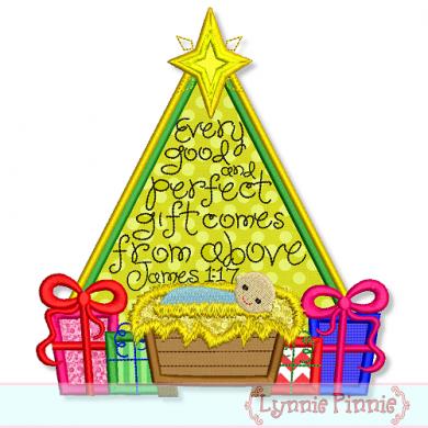 christmas tree with james 117 applique 5x7 6x10 7x11 - Christmas Tree Applique