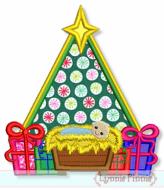 Christmas Tree with Baby Jesus Applique 4x4 5x7 6x10 7x11