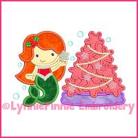 Christmas Tree Mermaid Cutie Applique Design 4x4 5x7 6x10