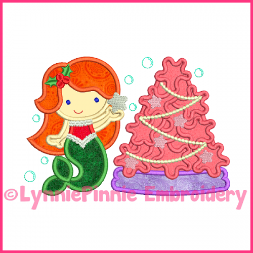 Christmas Tree Mermaid Cutie Applique Design 4x4 5x7 6x10