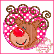 Circle Frame Reindeer Girl 4x4 5x7 6x10 7x11 SVG